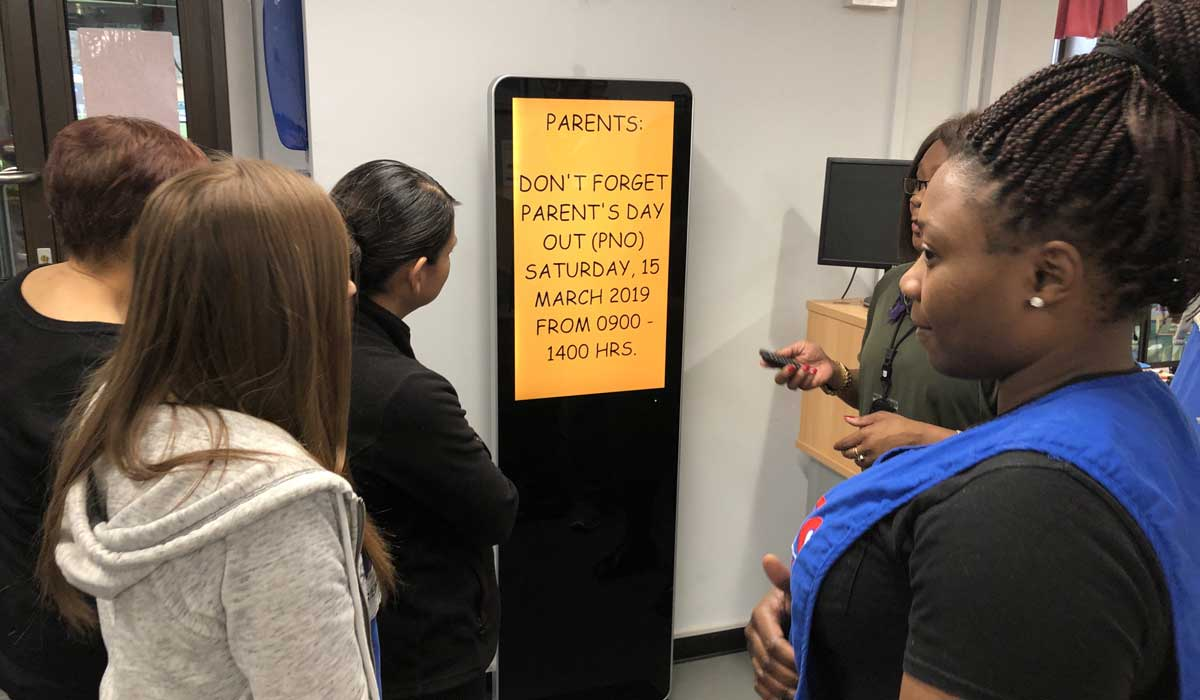 LCD Freestanding Digital displays for schools from Lobbysign Digital signage