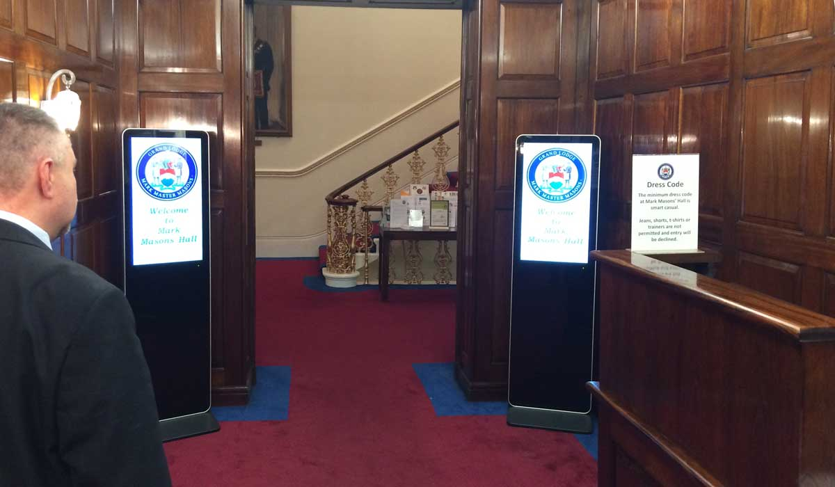LCD Freestanding Digital displays for hotels and conferences from Lobbysign Digital signage