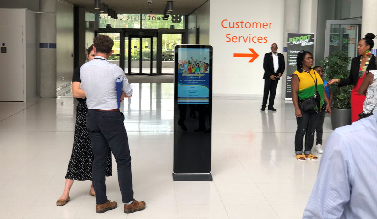 LCD Freestanding Digital displays for concourses from Lobbysign Digital signage